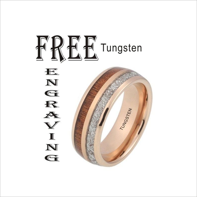 Tungsten Rose Gold Koa Wood  Meteorite Inlay Silver Custom Personalized Koa Metorite Tungsten Wedding Engagement Promise Ring Band 8mm