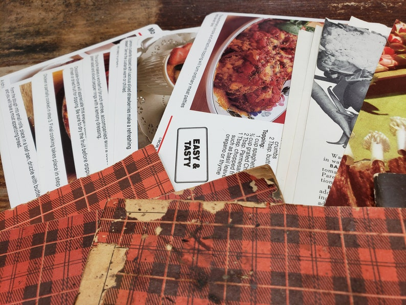 Recipe Booklet recipe cards and plaid stamp saver booklet Huge Lot of Vintage Recipes