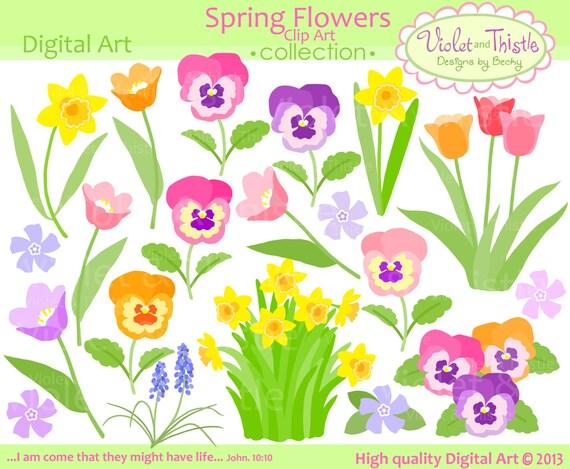 Flower Clipart Flower Clip Art Spring Flower Clipart Instant Etsy