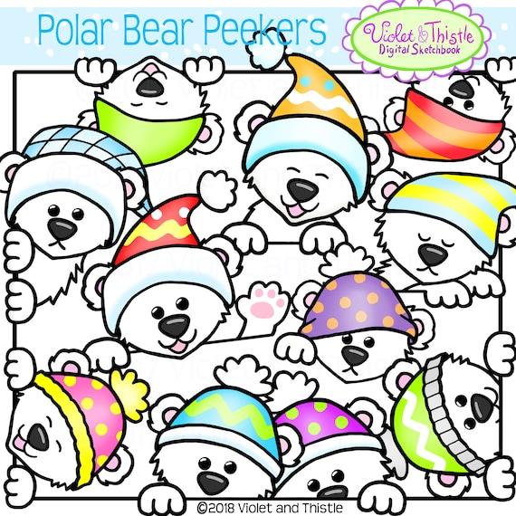 Cute Polar Bear Peekers Clipart Clip Art Peeking Polar Bears