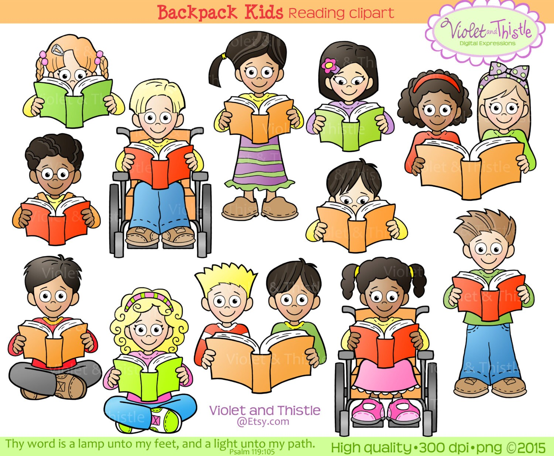kids reading clipart kids clip art children reading school | etsy
