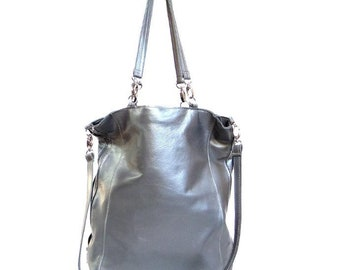 371455fe1b Silver leather bag for women, bag for the festival, gift under 40. simple leather  bag, minimalst silver leather bag. genuine italian leathe