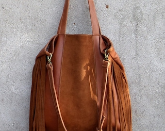 Gypsy leather bag with #tassels