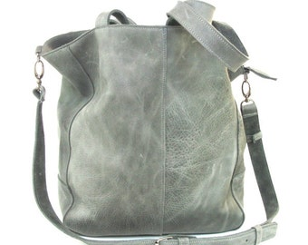Gray classic leather bag  Italian leather, flashly leather,crossbody, shoulder bag, gift under 40