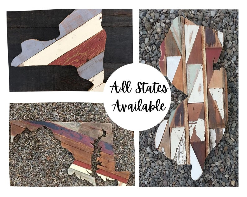 Reclaimed wood state wall art image 0
