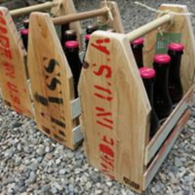 Reclaimed Wood Six Pack Holder image 0
