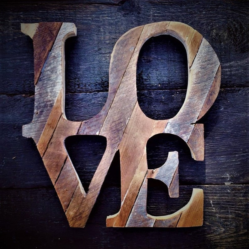 Reclaimed wooden LOVE wall art image 0