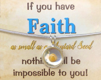 Mustard Seed Necklace from Matthew 17 20 Faith Jewelry Baptism Mother's Day Gift