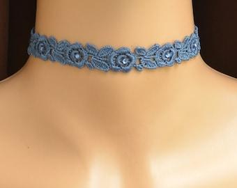 Lace Choker, Blue Choker, Rose Choker, Floral Choker, Choker with crystals, Wide Lace Choker, Blue Crystal Necklace