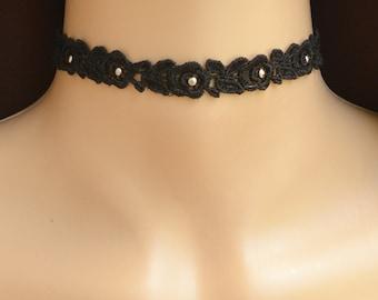 Black Lace Choker, Black Choker, Rose Choker, Floral Choker, Choker with crystals, Wide Lace Choker, Studded Choker, Choker with Silver