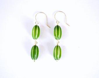 Oval Green Vintage Textured Bead Sterling Silver Dangle Earrings