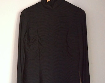 Vintage Black Silk Pleated High Neck Chetta B. Blouse