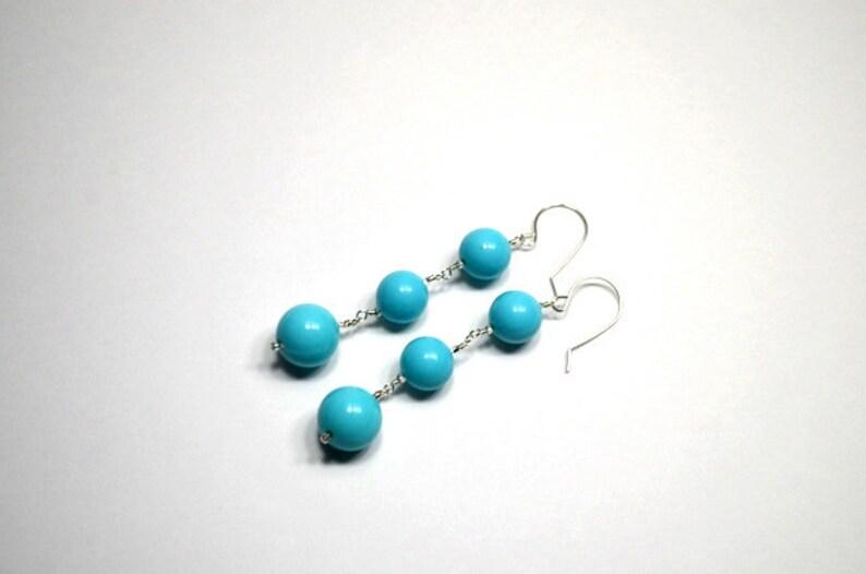 Turquoise Vintage Bead Sterling Silver Drop Earrings image 0