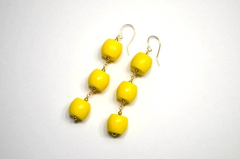 Faceted Bright Yellow Vintage Bead 14K Gold Drop Earrings image 0