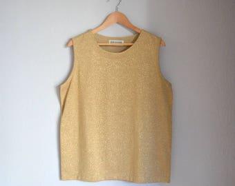 Vintage Bob Mackie Gold Knit Sleeveless Sweater / Sweater Vest