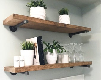 Modern farmhouse kitchen decor is always a great idea. But if you're decorating or redecorating your kitchen, it's the best idea yet! Let me show you some awesome decor for your kitchen {modern farmhouse or not} available at Etsy. These shelves would be the perfect addition to any kitchen!