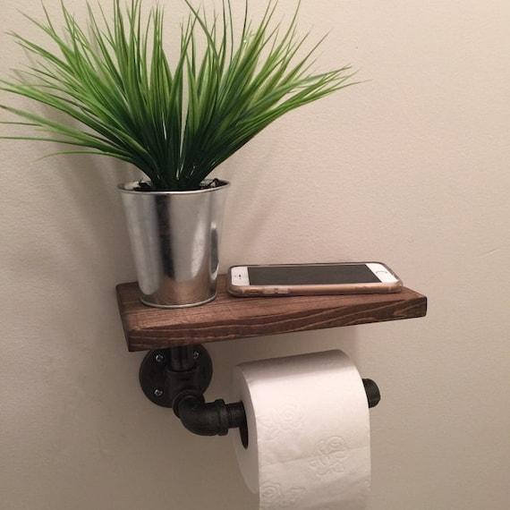 porte papier toilette industriel avec tag re tuyau de etsy. Black Bedroom Furniture Sets. Home Design Ideas