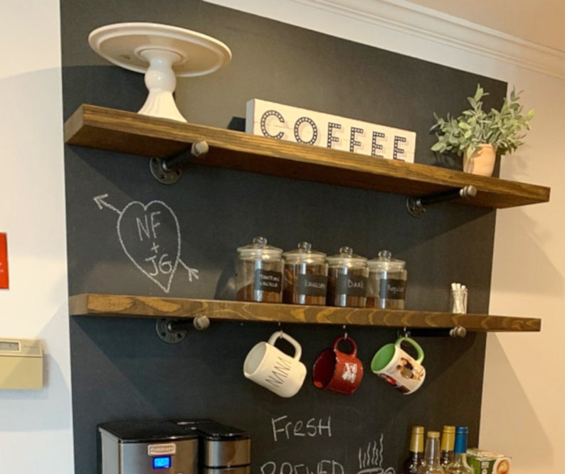 Enjoyable Rustic Floating Shelf Coffee Bar Kitchen Shelves Industrial Shelve Wood And Pipe Shelve Wall Pipe Shelf Open Shelving Farmhouse Shelf Download Free Architecture Designs Rallybritishbridgeorg