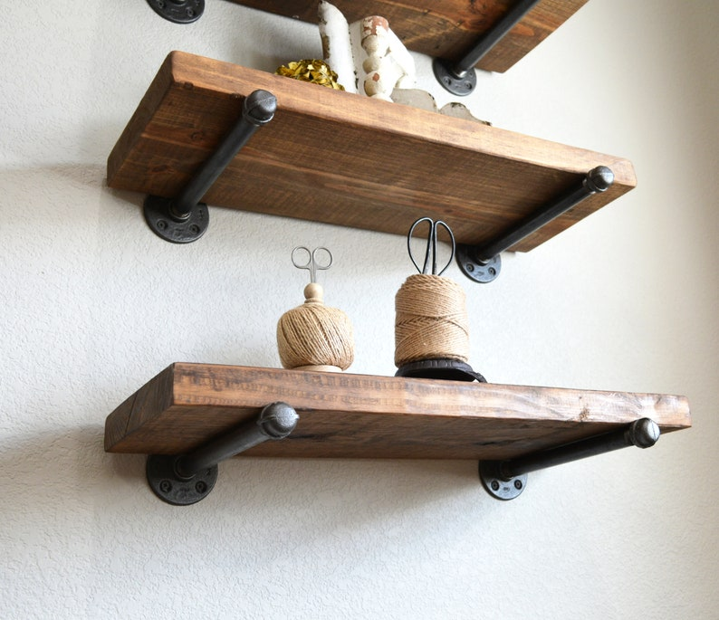 Provincial Stained Floating shelf, shelves, rustic farmhouse industrial  wood pipe shelf kitchen bathroom sewing room laundry nursery decor