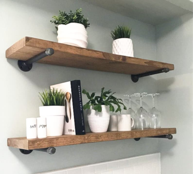 Floating Shelf Shelf Shelves Shelf Brackets Farmhouse Decor Rustic Decor Kitchen Decor Wall Decor Kitchen Shelves Bathroom Shelves
