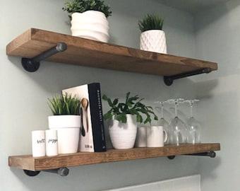 A rustic pipe shelf, floating farmhouse decor, rustic wood shelf, bathroom shelf, farmhouse shelf, floating shelf, industrial floating shelf