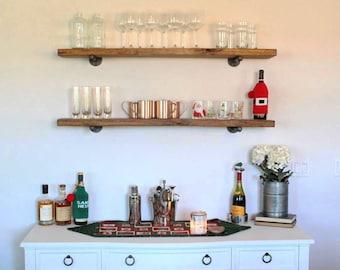 """Extra Long 10"""" Deep Floating Shelf, Rustic Wood & Pipe Shelf, Industrial Shelving, Book Shelf, Wall Shelve, Kitchen Farmhouse Shelf"""