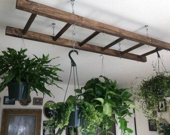 Walnut Stained Pot Rack Ladder 4 or 5 ft Plant and Basket Holder, Pot and Pan hanger storage. Hanging Plant rack. Kitchen Island decor.