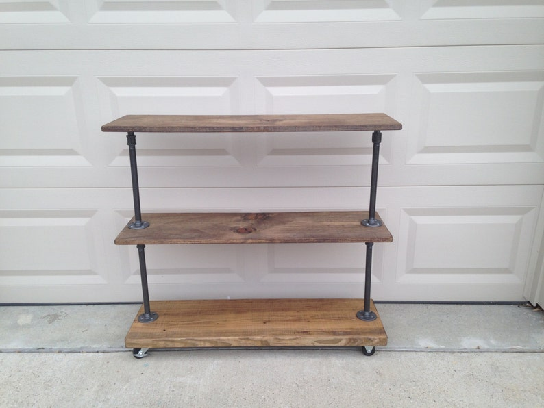 Industrial Pipe Rolling Storage Rack With Three Rustic Shelves. Clothing  Rack For Clothes Shoe Storage. Store Fixture Garment Warerobe