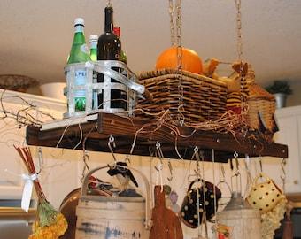 "Rustic Walnut Stained Mini Pot Rack (40"" long), Farmhouse Pot Rack, Kitchen Rustic Decor, Pot and Pan Storage, Kitchen Island Rack,"