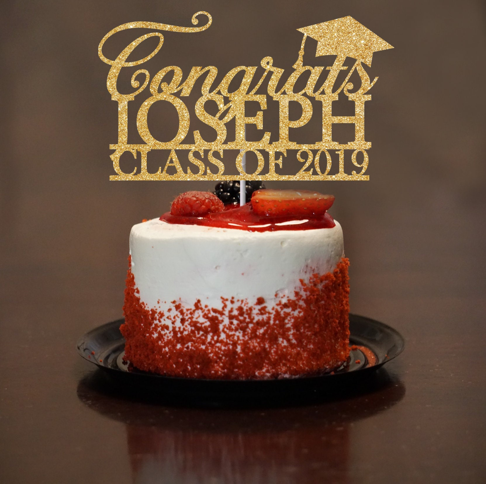 Congrats Grad Cake Topper Black Class Of 2019 Acrylic Cake Picks Cake Topper MC
