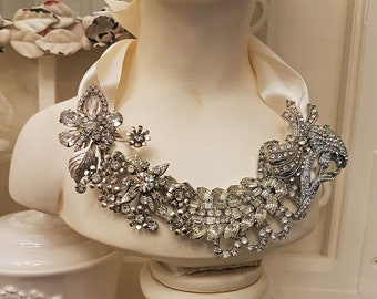 Bridal Choker Crystal Cup Chain Dangle Art Deco Wedding Jewelry Jeweled Delicate Rhinestone Swag Statement Collar GIANNA NECKLACE SILVER