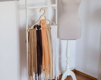 Wooden Hanger For Scarf Organizer Tie Holder Wood Closet Storage Ideas  Scarf Hanger Craft Hangers Eco Friendly Gifts Wooden Dress Hanger