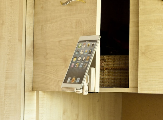 Kitchen tablet holder Tech trend gift Ipad stand Kitchen stand Wood  cookbook stand Dock station Natural wooden gift Phone charging station