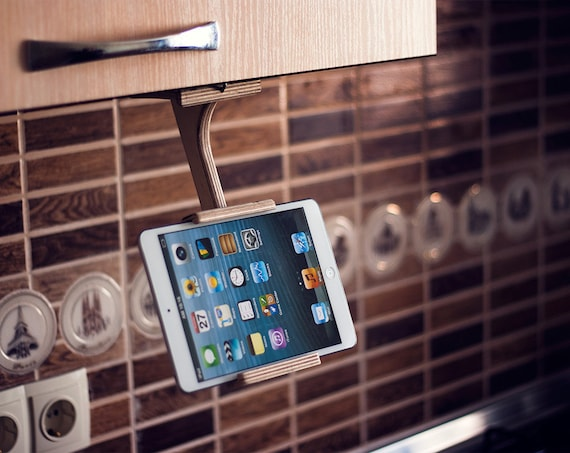 Kitchen tablet stand wood Ipad stand Docking station TreeSky Tablet holder  Dock stand Adjustable phone stand organizer wood gifts for her