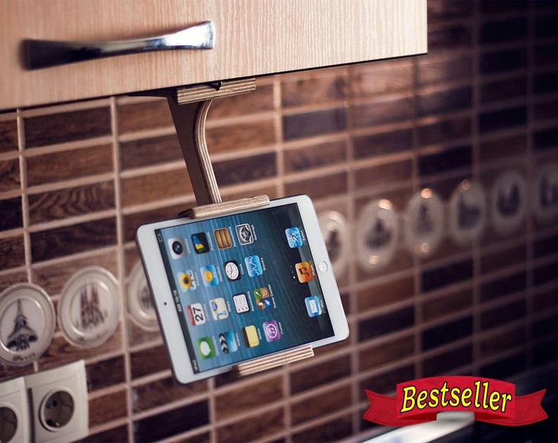 Wood tablet stand Kitchen Dock station Tablet holder Wood image 0