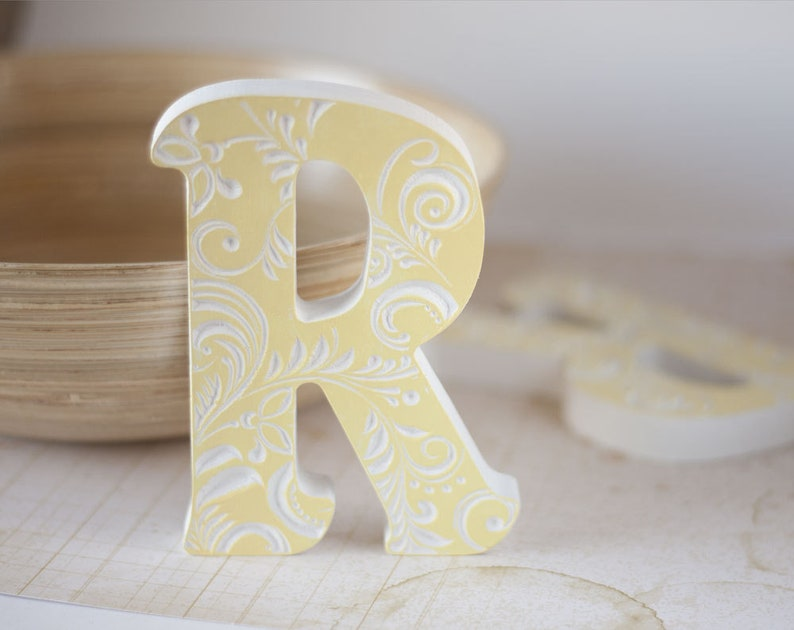 Wooden Letters For Nursery Letter Baby Wood Block Letters Etsy
