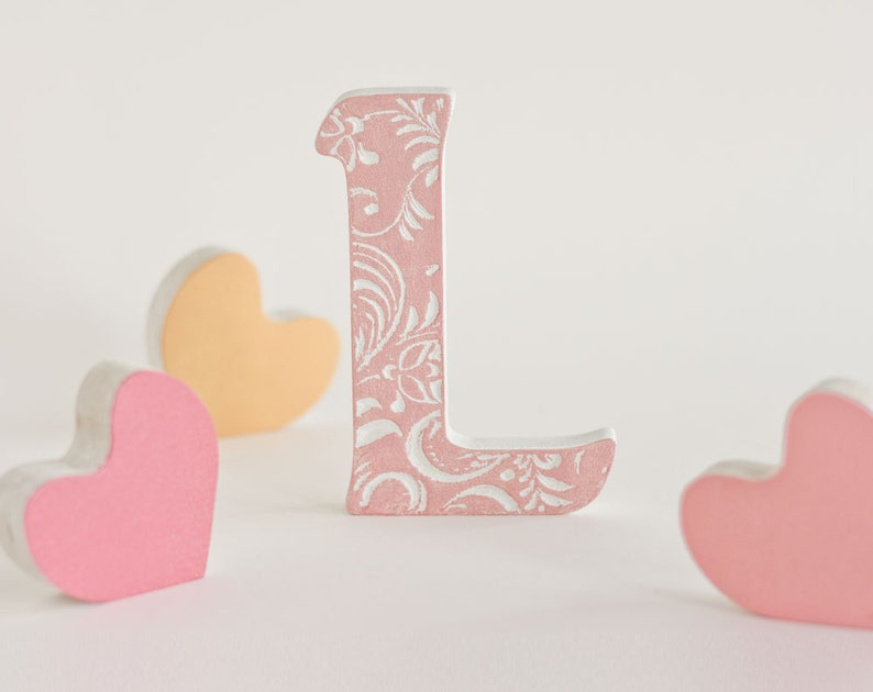 Blush Wedding Decor Wooden Letter L Pink Letter For Nursery Etsy