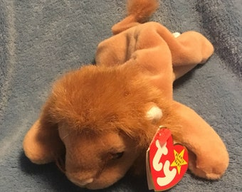 98e9df75aa4 1996 TY Roary the Lion beanie baby with pvc pellets.