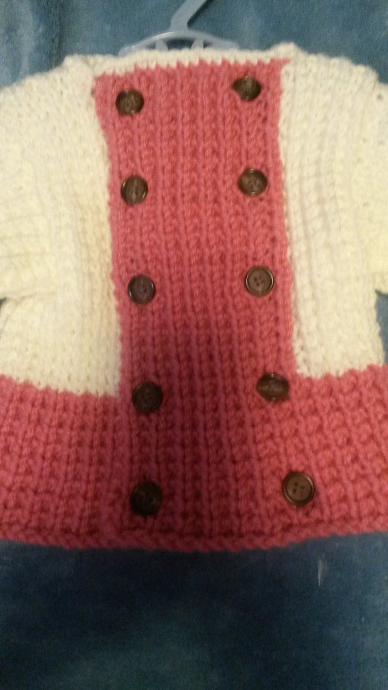 3-6 month pink and white sweater for baby girl