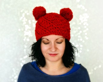 e87b838e3df Double pom pom hat red knitted winter hat for girl womens