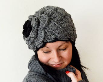 3d35823220f Knitted winter hat with big flower for woman girl