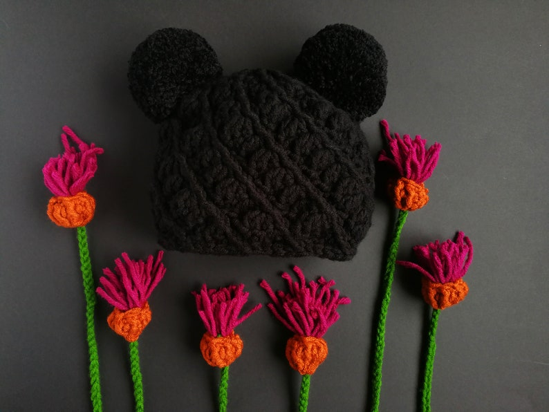 85c6807e935c2 Double pom pom beanie black mouse ears hat knitted winter