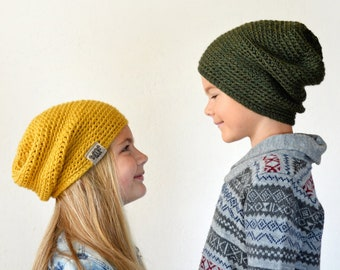Slouchy knitted / crochet beanies set, 38 COLORS, TWINS matching hats, boys mens winter hats, mommy and me outfit, yellow merino wool hat
