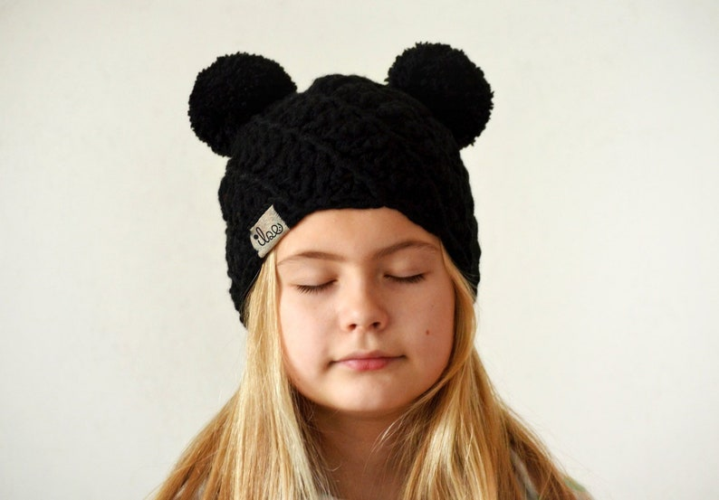 bb540acb553 Double pom pom beanie black mouse ears hat knitted winter