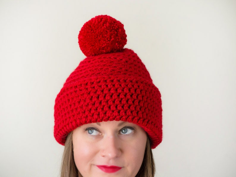 98852a6c319 Chunky knitted hat red pOm pOm hat womens winter hat bulky