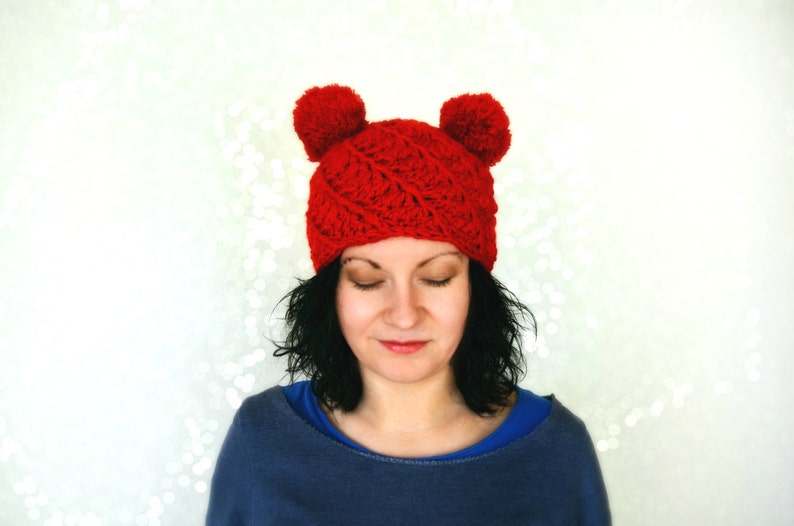 a9fafd0ab5a Double pom pom hat red knitted winter hat for girl womens
