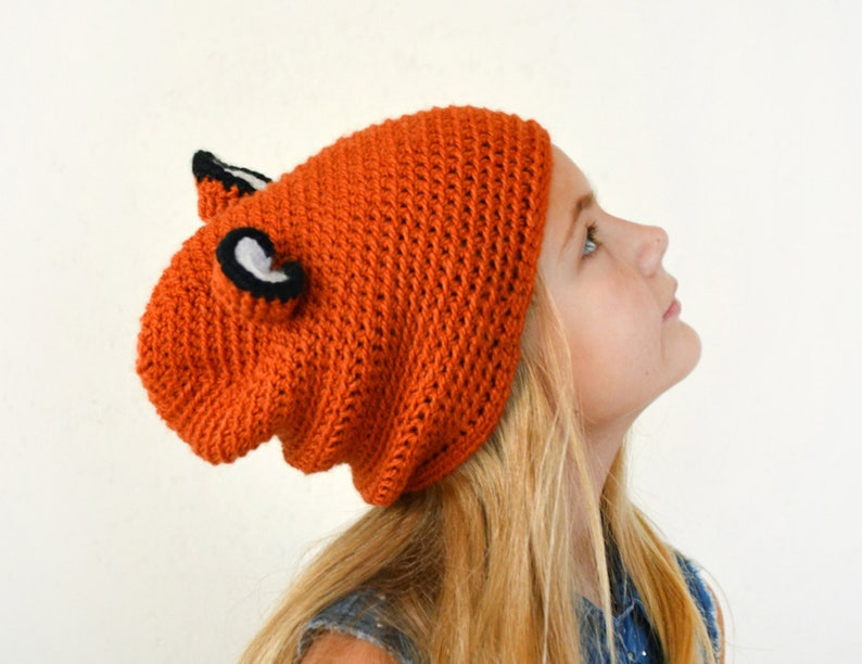 9d14ebeeb59 Crochet Fox hat funny hat with ears fox costume slouchy