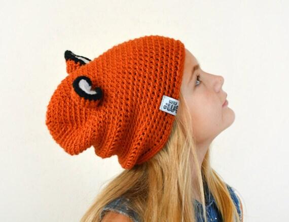 Fox Häkelmütze lustige Mütze mit Ohren Fuchs Kostüm lässige | Etsy