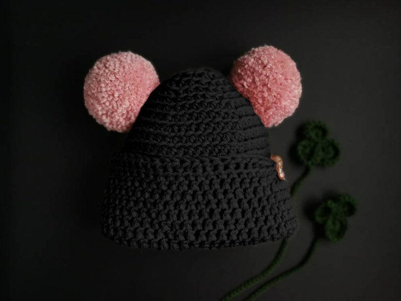 3712e7061dc Double pom pom hat chunky knitted hat PINK BLACK hat girls