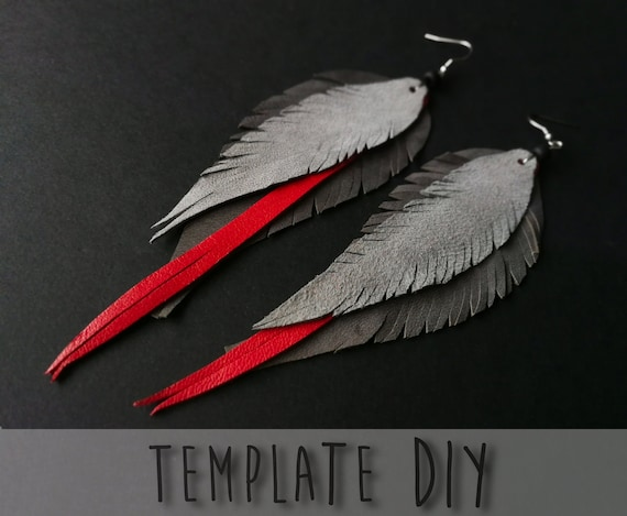 Diy Leather Feather Earrings Cricut Svg Files Printable Pdf Etsy